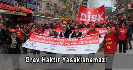 """""""Grev Haktır Yasaklanamaz! Metal işçilerinin grev hakkı derhal iade edilmelidir!"""""""