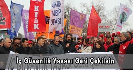 Emek ve Meslek Örgütleri İç Güvenlik Yasa Tasarısını Protesto Etti